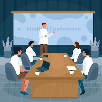 Flache medizinische konferenz