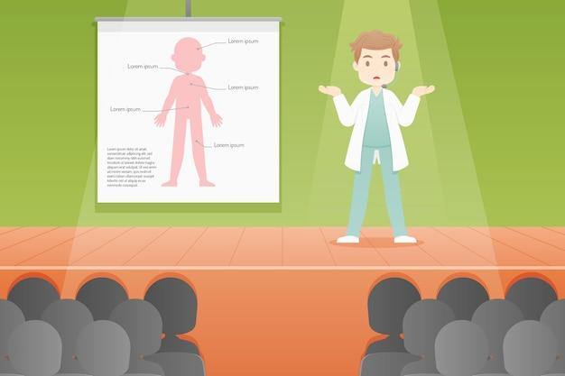 Flache medizinische konferenzillustration