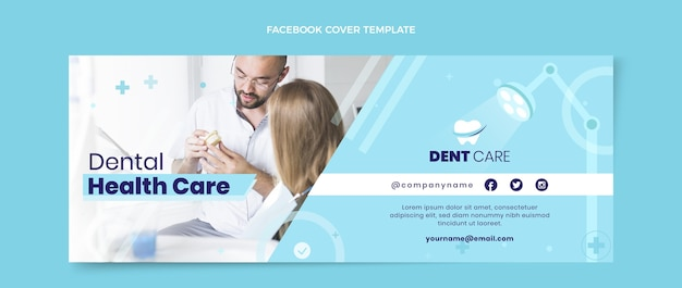 Flache medizinische social-media-cover-vorlage