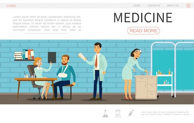 Flache medizinische versorgungswebseitenvorlage mit ärzten krankenschwester und patient im krankenhaus