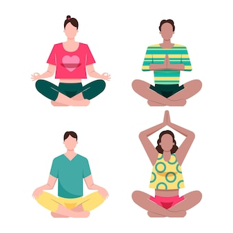 Flache menschen, die illustriert meditieren