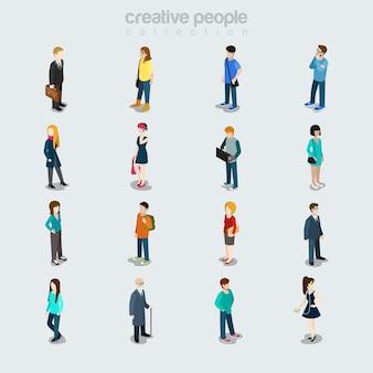 Flache menschen, die sich nach beruf, geschlecht, alter und stil unterscheiden. isolierte symbole. sortenkonzept der mitglieder der gesellschaft. geschäftsmann, student, junge schönheiten, oldie, freizeitkleidung.