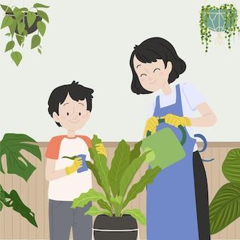 Flache menschen, die sich um pflanzen kümmern, illustriert