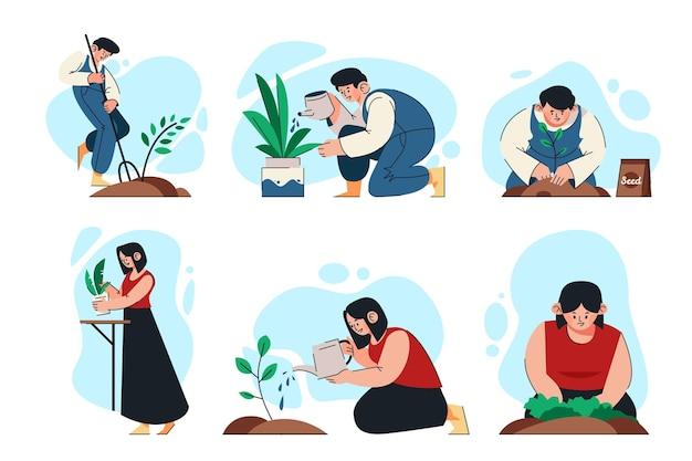 Flache menschen, die sich um pflanzen kümmern