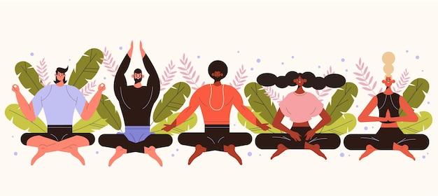 Flache menschen, die zusammen meditieren