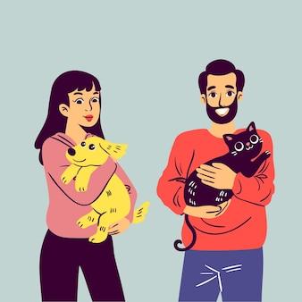 Flache menschen mit katze und hund