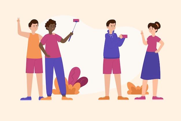 Flache menschengruppe, die fotos mit selfie-stick macht