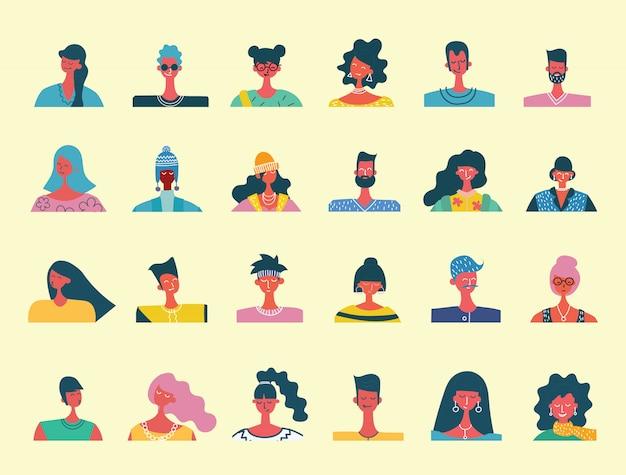 Flache menschenporträts. lächelnde menschliche ikone. menschlicher avatar. einfache süße charaktere. süße freundliche leute. mann, jungenikone. frau, dame, junges mädchenikone lokalisiert auf hellem hintergrund.