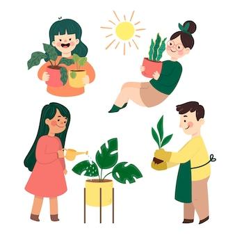 Flache menschensammlung, die sich um pflanzen kümmert
