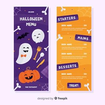 Flache menüvorlage mit halloween-muster