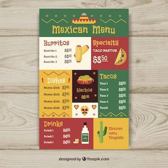 Flache mexikanische lebensmittelmenüschablone