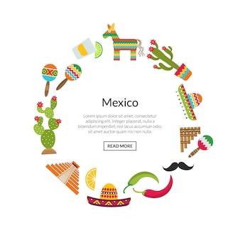 Flache mexiko-attribute in kreisform