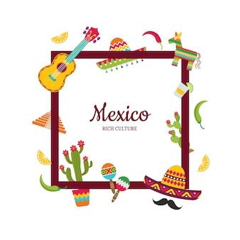 Flache mexiko-attribute mit exemplarillustration