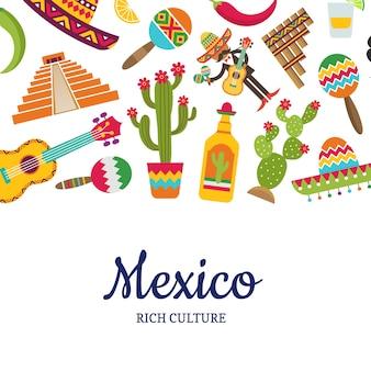 Flache mexiko-attribute mit platz für textillustration