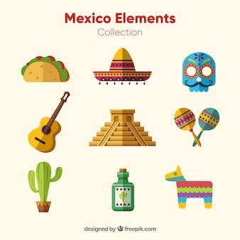 Flache mexiko-elemente festgelegt