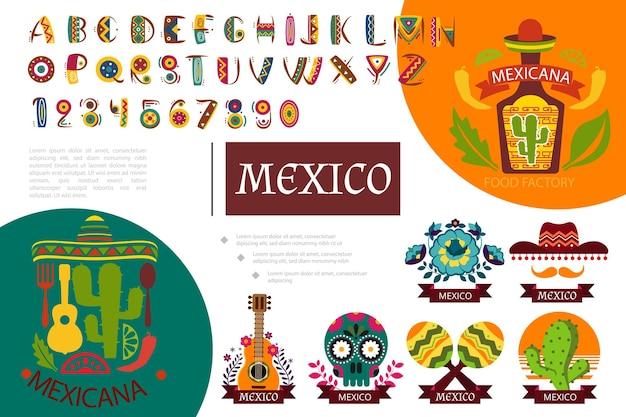 Flache mexiko elemente zusammensetzung illustration