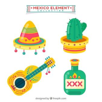 Flache mexiko-elementsammlung
