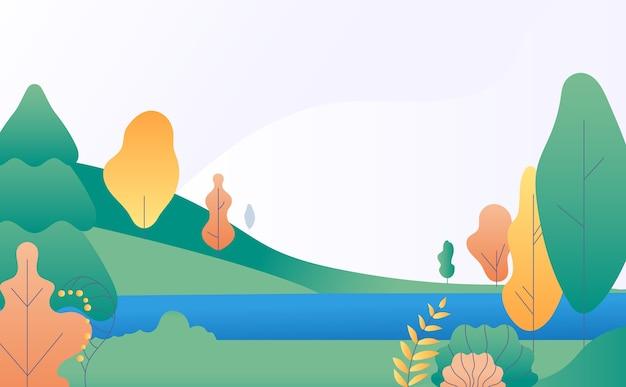 Flache minimale landschaft. herbstnaturszene mit gelben, grünen bäumen und fluss. herbstpanorama mit see. illustration herbstlandschaftsszene, landschaft stilisiert