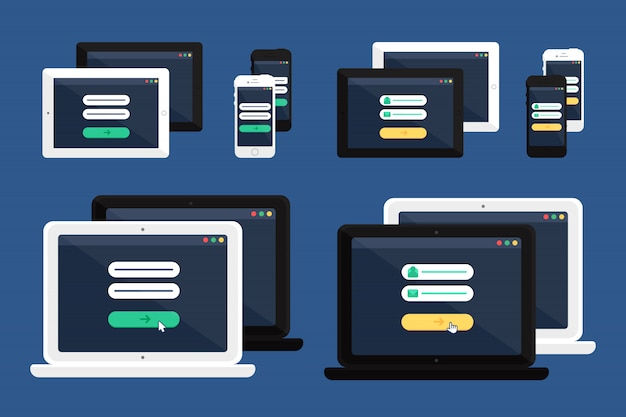Flache minimalistische auflage, telefon, laptop