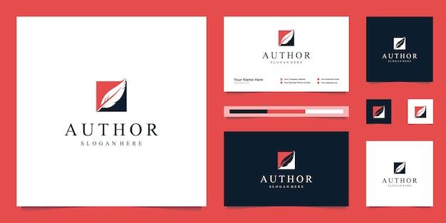 Flache minimalistische unternehmensfeder, autor, schöpfer, signaturlogodesign und visitenkarte