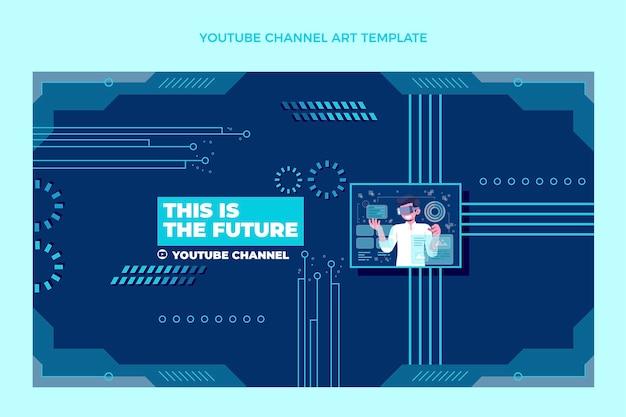 Flache minimaltechnologie-youtube-kanalkunst