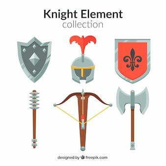 Flache mittelalterliche elementsammlung