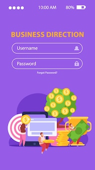 Flache mobile crowdfunding-seite mit login-formular und leuten, die geld für geschäftsideen sammeln
