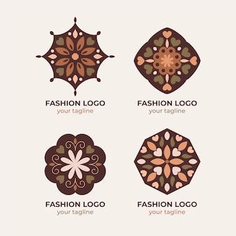 Flache modeaccessoires-logo-kollektion