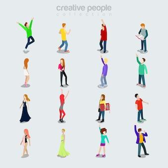 Flache moderne junge menschen, die sich nach beruf, geschlecht und stil unterscheiden. isolierte symbole. sortenkonzept der mitglieder der gesellschaft. party maker, student, junge schönheiten, tänzerin, freizeitkleidung.