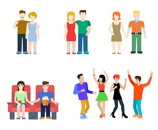 Flache moderne menschen in lässigen kleidungssituationen eingestellt. paare tanzen kino isoliert. männer frauen lebensstil.