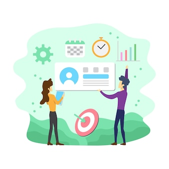 Flache moderne social media-marketing-vektor-illustration