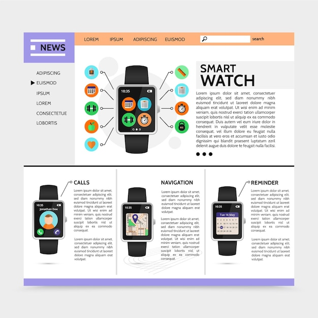Flache moderne technologie-website mit smartwatch-sport- und fitness-widgets rufen navigationserinnerungsanwendungen illustration an