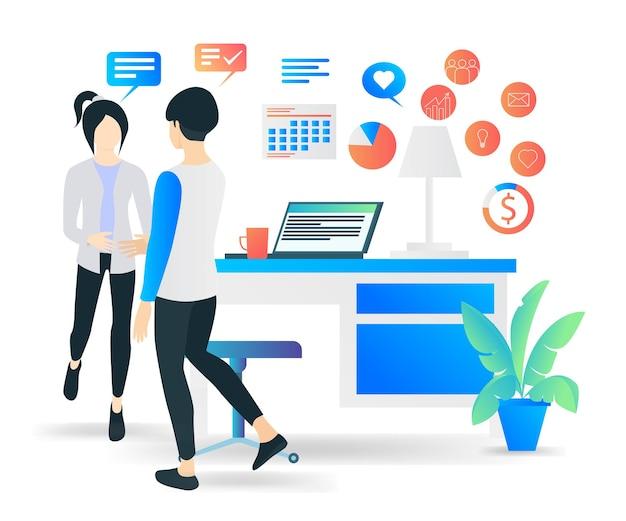 Flache moderne vektorgrafik über einen job mit einem kunden