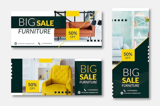 Flache möbelverkaufsfahne mit foto Premium Vektoren