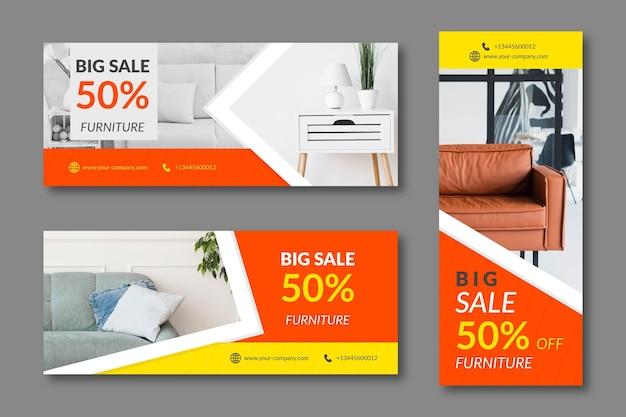 Flache möbelverkaufsfahne mit foto Kostenlosen Vektoren
