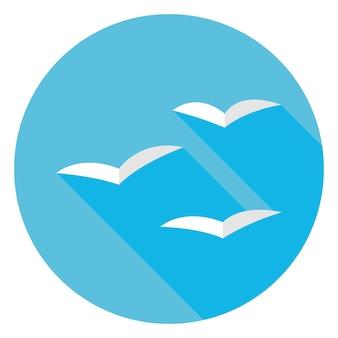 Flache möwenvögel im himmelskreis-symbol mit langem schatten. vektor-illustration flach stilisiert