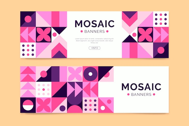 Flache mosaik-banner-set