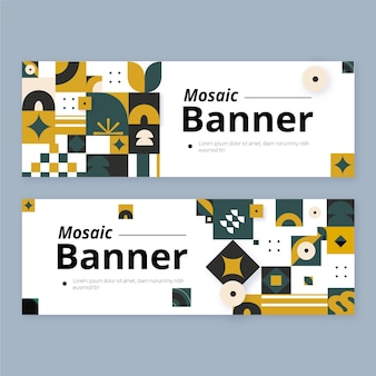 Flache mosaik-banner-vorlage