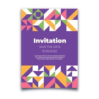 Flache mosaik-einladungsvorlage