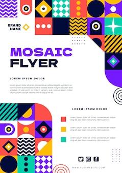 Flache mosaik-flyer-vorlage