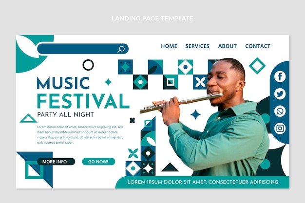 Flache mosaik-musikfestival-landingpage-vorlage