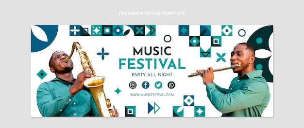 Flache mosaik-musikfestival-social-media-cover-vorlage