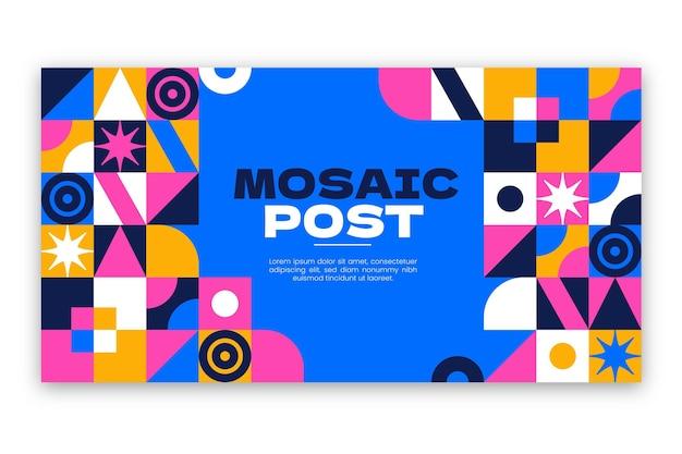 Flache mosaik-social-media-beitragsvorlage