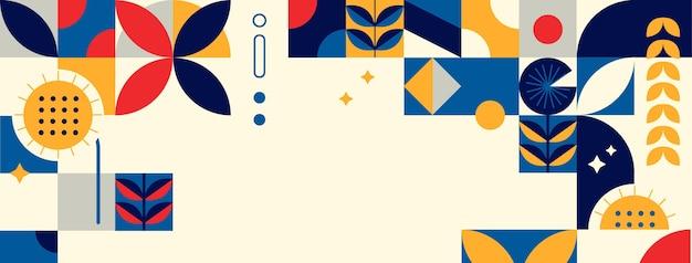 Flache mosaik-social-media-cover-vorlage