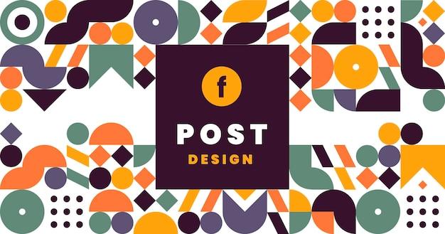 Flache mosaik-social-media-post-vorlage