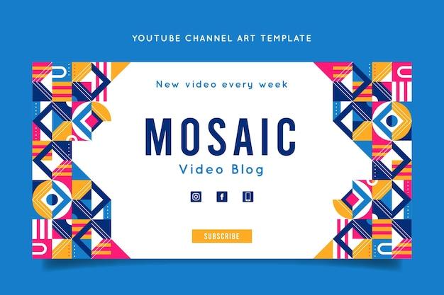Flache mosaik-youtube-kanal-kunstvorlage