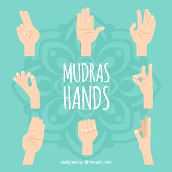 Flache mudras-handsammlung