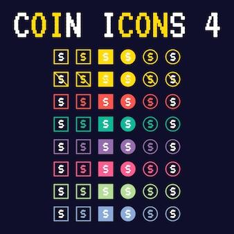 Flache münze symbole 4 spiel asset