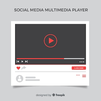 Flache multimedia-player-vorlage für social media