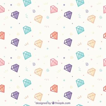 Flache muster mit farbigen diamanten